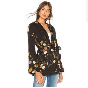 Free People Peony Wrap Jacket Kimono one Midnight